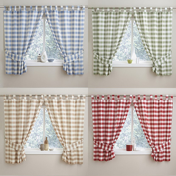 Check Gingham Kitchen Curtains With Tab Top Header. Blue