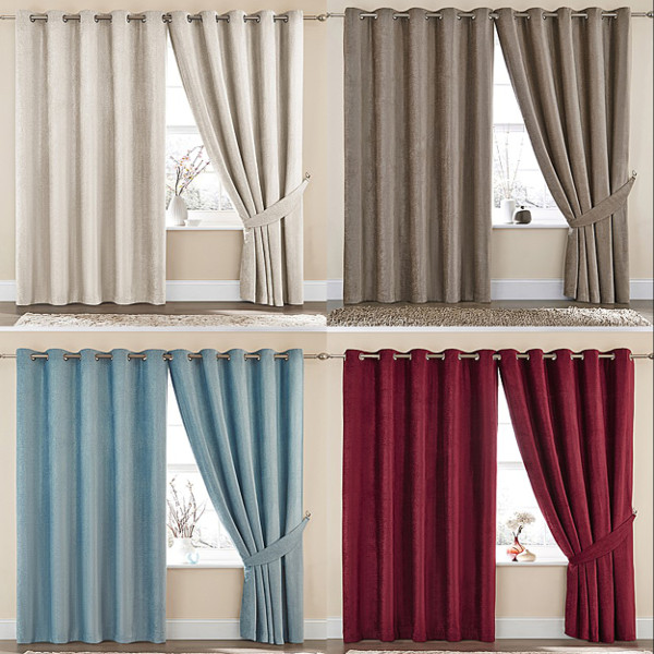 Bedroom Curtains Uk Only: Sara Chenille Luxury Contemporary Ring Top Eyelet Lined