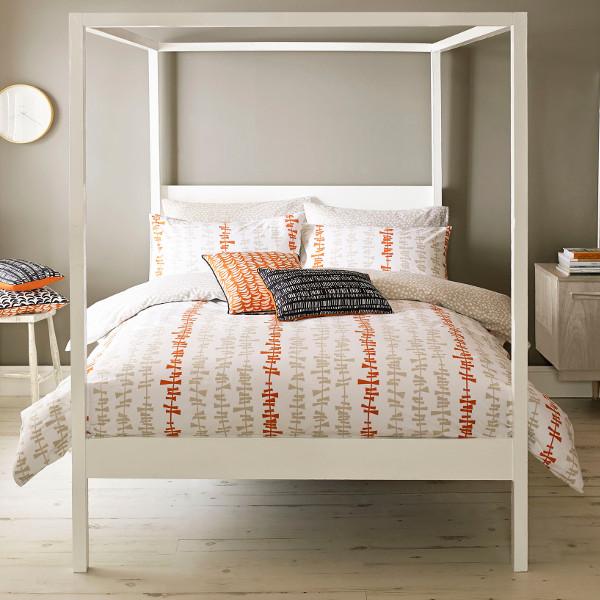 Orange Linear Stem Kingsize Duvet Cover - BrandAlley  Orange Duvet Cover