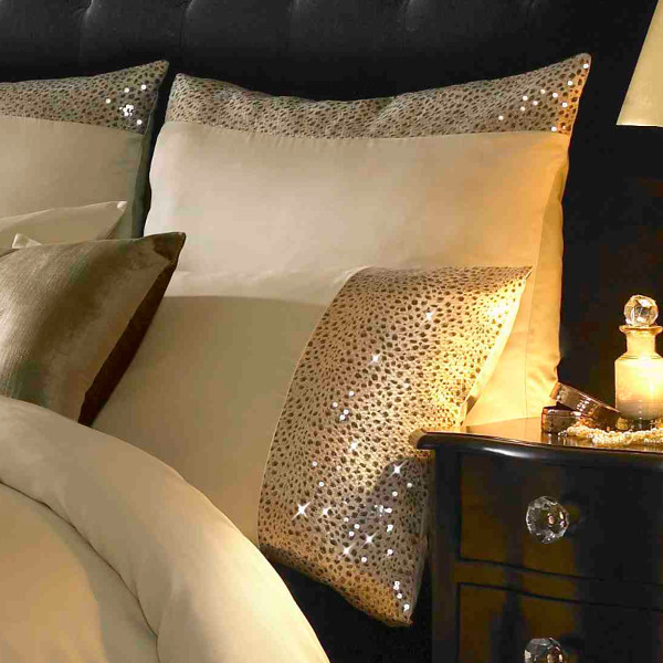 Leopard Ivory & Gold Luxury Sequin Square Pillowcase By