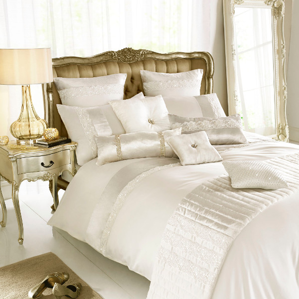 Madaline Oyster Duvet Quilt Cover With Embroidered Lace