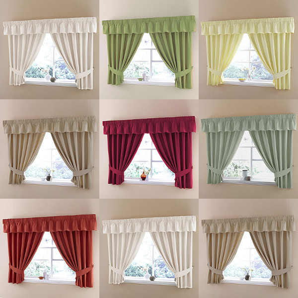 "Plain Dyed Half Panama Kitchen Curtains With 3"" Tape Top"