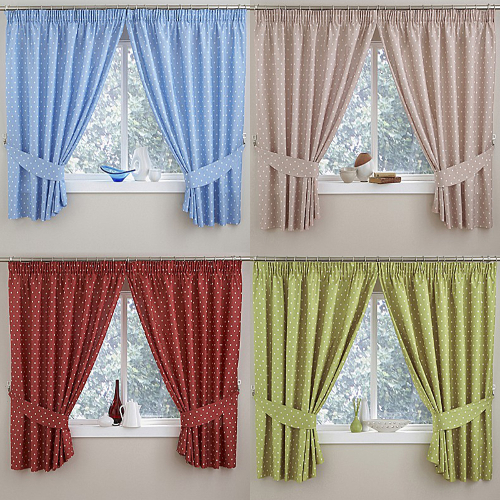 Polka Dot Thermal Kitchen Tape Top Curtains In Blue, Green
