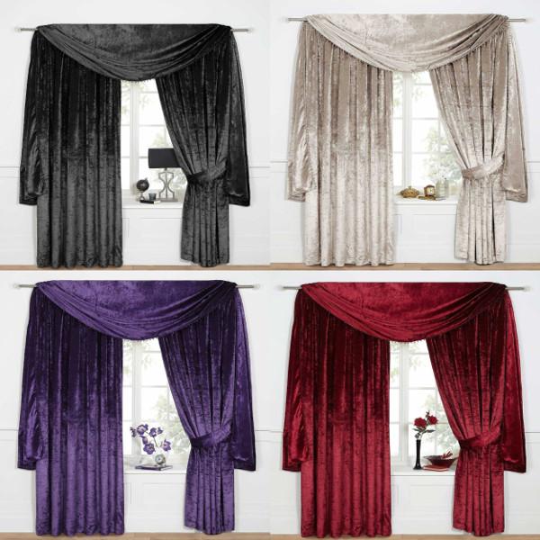 Delightful Venezia Plain Velour / Velvet Effect Tape Top Pair Of New Lined Curtain  Drapes