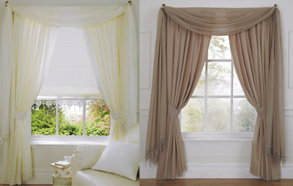 Wisteria Plain Voile Modern Lined Tape Top Curtains. In Ivory, Latte ...