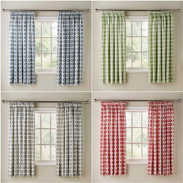 Red And Gray Kitchen Curtains: FLORAL PRINT COTTON PENCIL PLEAT NEW KITCHEN CURTAINS WITH OPTIONAL ACCESSORIES