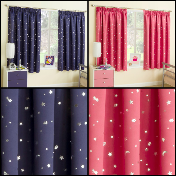 Childrens Kids Blockout Curtains With Metallic Moon